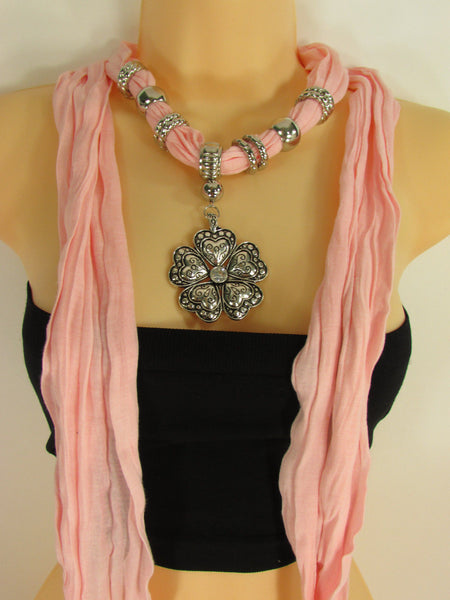 Blue Light Blue Black Dark Brown Light Pink Coral White Soft Scarf Necklace Heart Flower Silver Pendant New Women Fashion 6 Different Colors - alwaystyle4you - 62