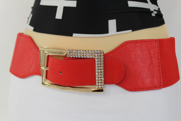 Black / Red / White / Brown Faux Leather Tie Hip Waist Belt Square Gold Rhinestones Buckle New Women Fashion Accessories M L - alwaystyle4you - 49