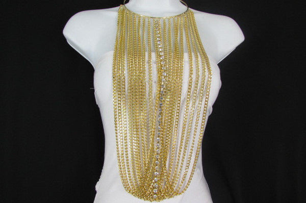 Gold Metal Choker Extra Long Chains Statement Necklace Hot Rhinestones New Women Fashion - alwaystyle4you - 13