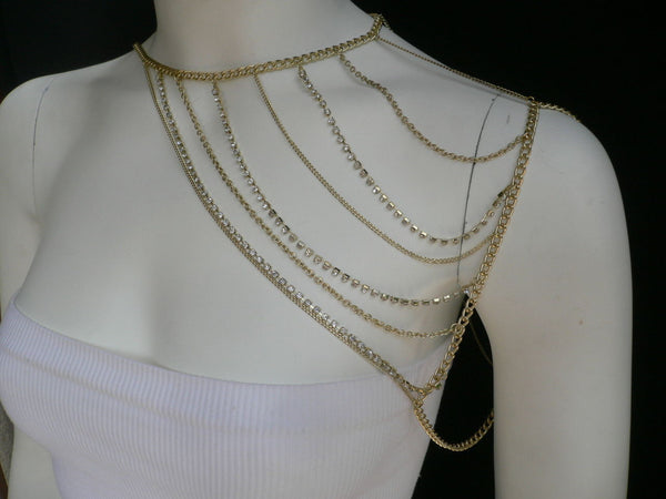 New Women Casual Gold Metal Long Chain One Side Shoulders Body Chain Necklace Fashion Jewelry Clear Rhinestones - alwaystyle4you - 10