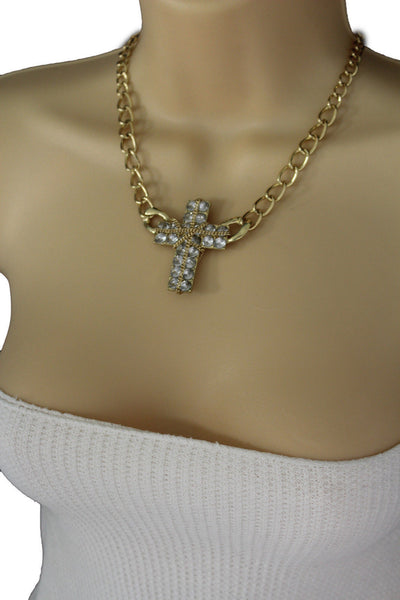 Short Gold / Silver Metal Chains Cross Pendant Necklace + Earring Set New Women Fashion Jewelry - alwaystyle4you - 6