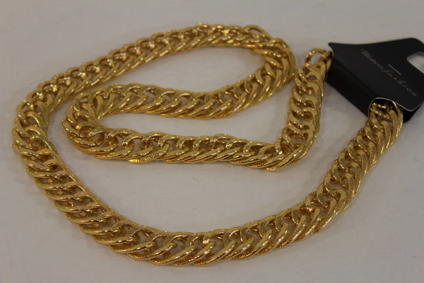 Gold Metal Chain Links Extra Long Necklace New Men Chunky Gangster Hip Hop Biker Fashion - alwaystyle4you - 14