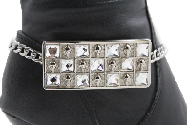 Silver Gold Metal Plate Chain Mini Skulls Bling Anklet Shoe Charm New Women Boot Bracelet Jewelry - alwaystyle4you - 5