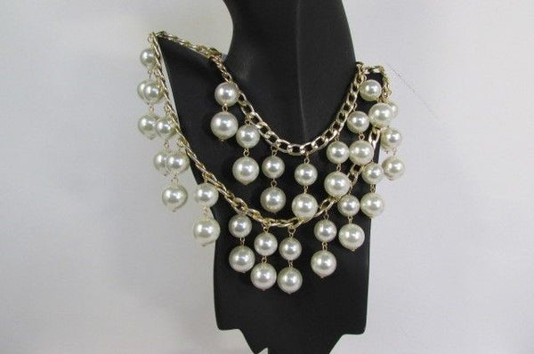 Gold Metal Long Double Chains 2 Strands Big Pearl Beads New Women - alwaystyle4you - 3