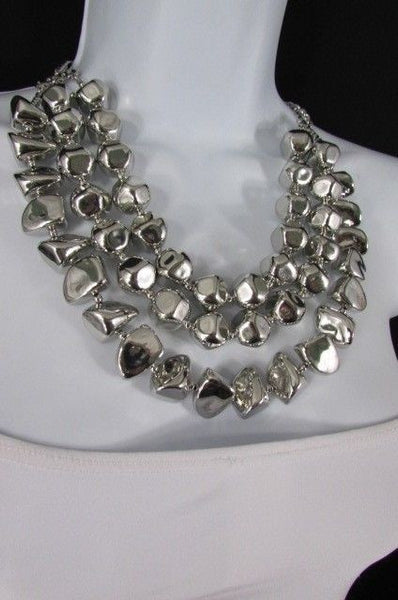 Long Shiny Silver Plastic Beads 3 Strands Fashion Necklace + Earring Set New Women - alwaystyle4you - 10