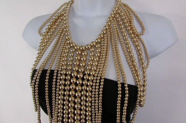 "Gold Multi Ball Beads 30"" Extra Long Unique Statement Necklace + Earrings Set  New Women Fashion - alwaystyle4you - 10"