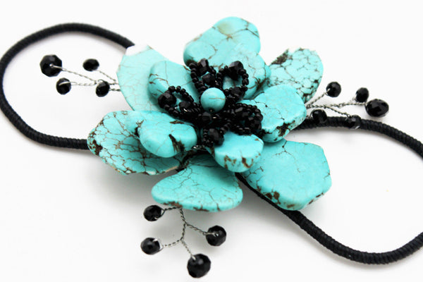 Blue Black Turquoise Red White Black Beads Bracelet Cuff Flower Charm Women Accessories