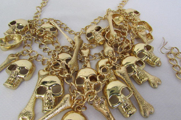 Gold Chains Skulls Strands Skeleton Bones Necklace + Earrings Set New Women Fashion - alwaystyle4you - 12