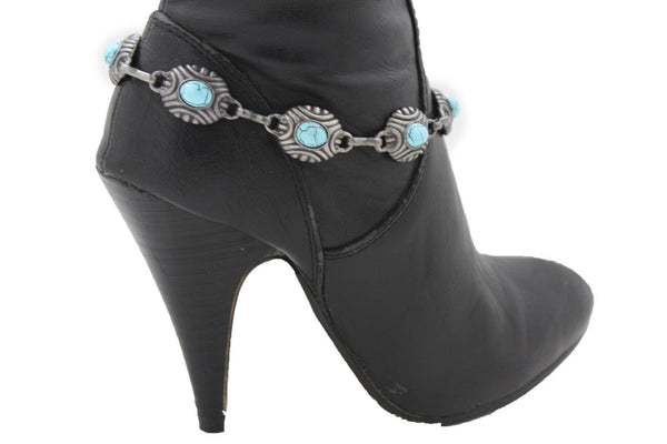 Silver Turquoise Blue Anklet Shoe Charm Boot Metal Chains Bracelet New Women Western Fashion - alwaystyle4you - 5