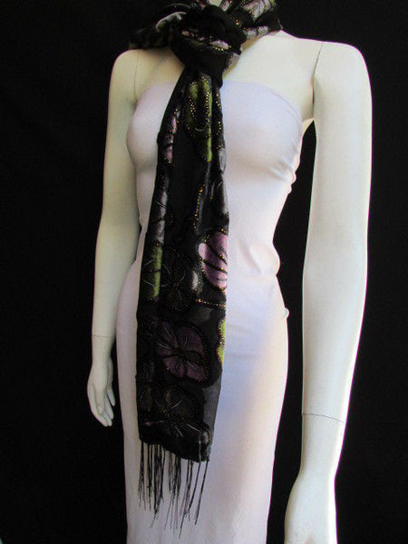 Black Long Fabric Neck Scarf Metallic Big Flowers Faux Velvet New Women Fashion Fashion - alwaystyle4you - 4
