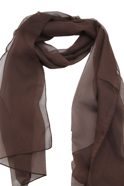 Dark Brown Dark Green Dark Blue Brown Neck Scarf Long Soft Sheer Fabric Tie Wrap Classic New Women Fashion - alwaystyle4you - 4