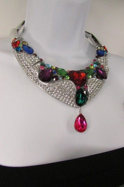 Silver Metal Multicolor Alloy Charm Bib Necklace New Women Fashion Jewelry - alwaystyle4you - 7