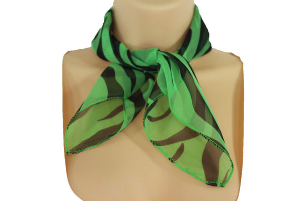 Green Neck Scarf Fabric Black Zebra Animal Print Pocket Square New Women Fashion - alwaystyle4you - 5