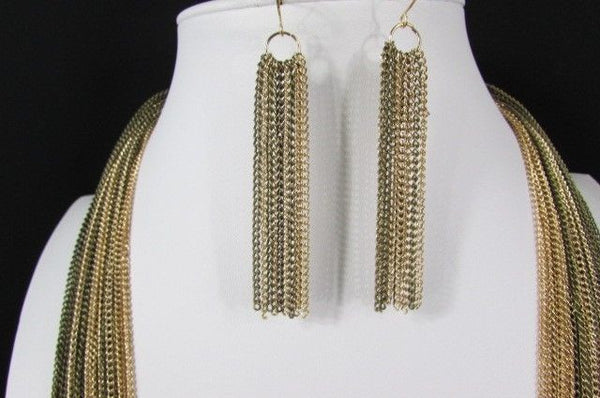 Silver Black / Antique Gold Thin Multi Chains Long Necklace + Earrings Set New Women Fashion - alwaystyle4you - 23