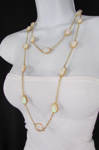 "Extra Long Gold Chains Shiny Cream Beads Fashion Necklace + Earrings Set New Women 26"" - alwaystyle4you - 9"