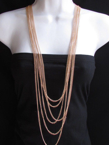 Long Gold / Silver Two Elegant Necklaces + Earring Set Thin Links New Women Fashion Jewelry - alwaystyle4you - 6