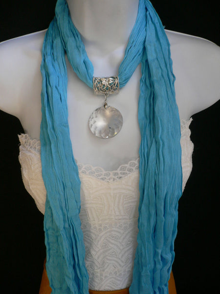 Light Blue Necklac Scarf Big Silver Crystal Flower Pendant Glass New Women Fashion - alwaystyle4you - 8