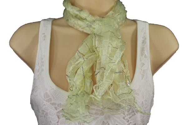 New Women Sheer Scarf Fashion Neck Wrap Long White Black Pink Blue Green Yellow - alwaystyle4you - 6