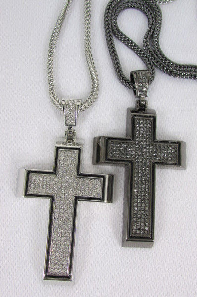 Pewter / Silver Metal Chains Long Necklace Boarded Cross Pendant New Men Hip Hop Fashion - alwaystyle4you - 10