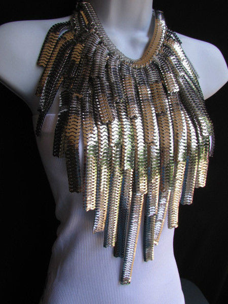 "Dressy Casual Wide Multi Strand Gold / Silver Links Chains Wide Metal New Women Necklace 20"" - alwaystyle4you - 19"
