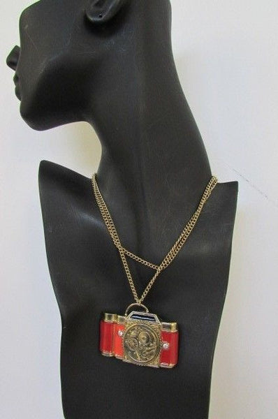 Old Fashion Collector Camera Red Orange Long Rusty Gold New Women Necklace - alwaystyle4you - 10