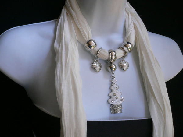 New Women Fashion Snow Christmas Tree Stars Pendant White Long Scarf Necklace - alwaystyle4you - 3
