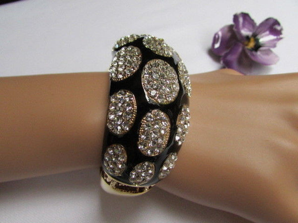 Gold Metal Wide Bracelet Black Animal Print Silver Rhinestone New Women Fashion Jewelry Accessories - alwaystyle4you - 7