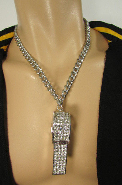 Silver Gold Metal Chains Necklace / Large Whistle Rhinestones Pendant New Men Women Fashion - alwaystyle4you - 14