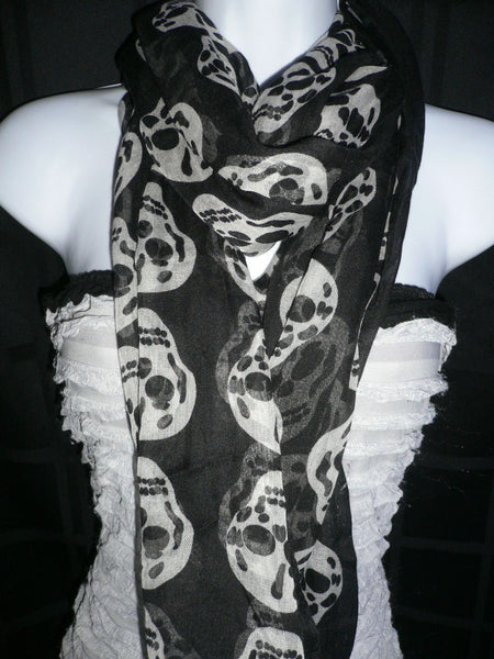 New Women Black Scarf Gray Beautiful Skulls Skeleton Drawing Soft 100% Polyester - alwaystyle4you - 5