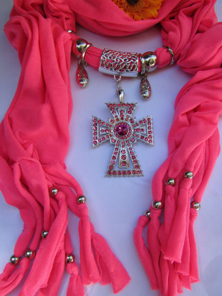 New Women Soft Fabric Dark Brown / Pink Scarf Necklace Western Rhinestones Cross Pendant - alwaystyle4you - 5