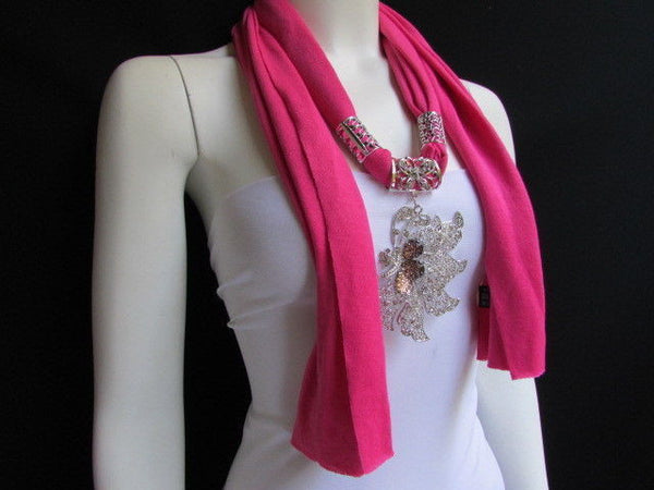Pink Blue Black Brown Bright Coral Soft Fabric Scarf Long Necklace Big Silver Butterfly Pendant New Women Fashion - alwaystyle4you - 6