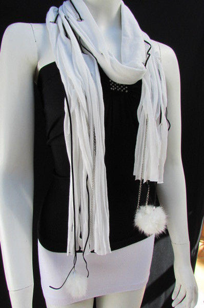New Women Fashion Soft White Fabric Scarf Mini Faux Fur Balls Black Chains - alwaystyle4you - 11