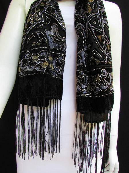 Women Scarf Black Multi Colors Big Flowers Faux Velvet European Stylish Shades - alwaystyle4you - 5