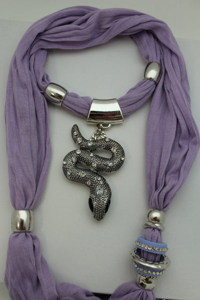 Women Lavender Fashion Scarf Fabric Silver Metal Snake Pendant Necklace Lilac - alwaystyle4you - 5
