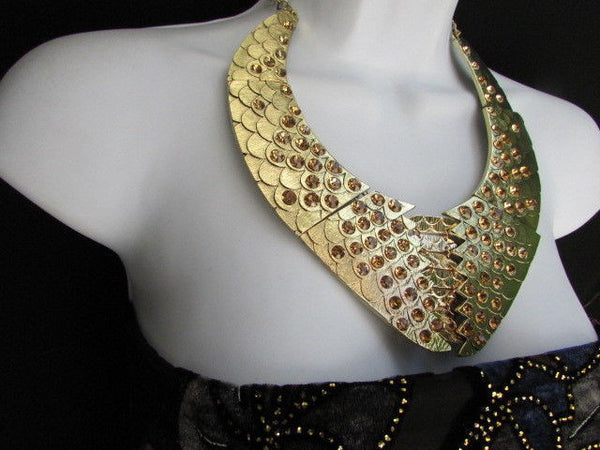 Gold /  Silver Metal Plates Snake Skin Rhinestones Necklace + Earrings Set New Women Fashion - alwaystyle4you - 6