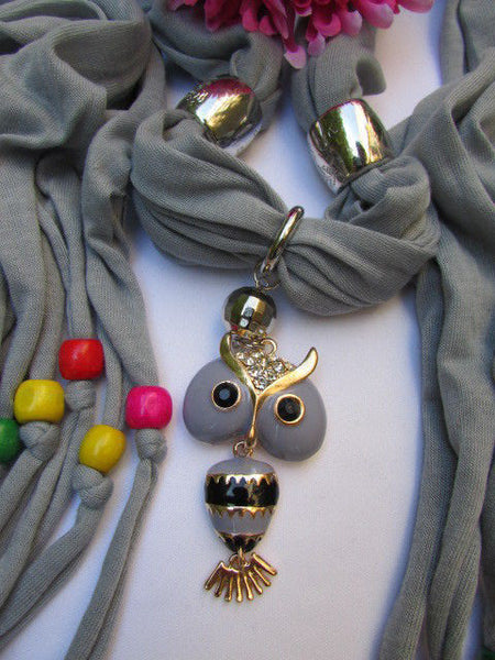 Black, Blue, Beige, Gray, White Soft Scarf Long Necklace Multicolors Wood Beads Owl Pendant New Women Fashion Accessory - alwaystyle4you - 5