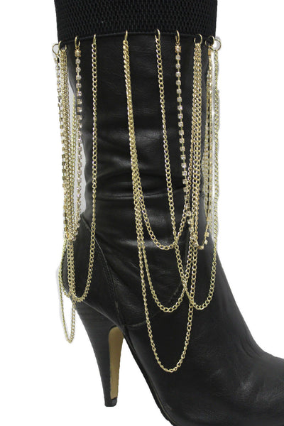 Gold Metal Boot Bracelet Chain Long Drop Bling Anklet Elastic Band New Women Western Hot Accessories - alwaystyle4you - 5