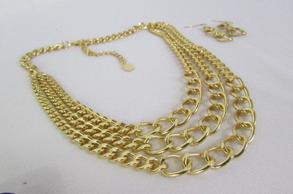 Gold Three Thick Chains Links Strands Necklace + Earrings Set New Women Trendy Fashion - alwaystyle4you - 10