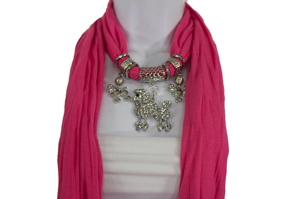 Blue, Black, L. Pink, Pink Fuscia Soft Fabric Scarf Silver Metal Poodle Dog Pendant New Women Fashion - alwaystyle4you - 15