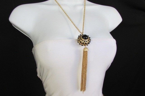 "Gold Metal Long Chains Big Ball Black Dots Fringe Fashion Necklace + Earrings Set New Women 26"" - alwaystyle4you - 14"