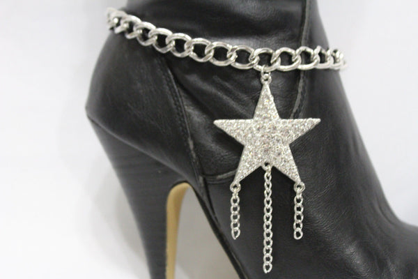Gold Silver Metal Chain Big Falling Star Anklet Shoe Charm New Women Western Boot Bracelet - alwaystyle4you - 5