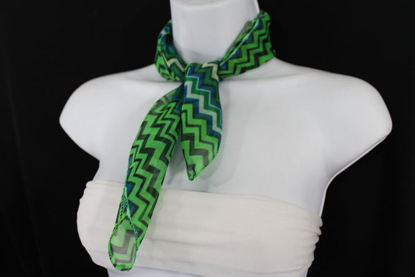 Bright Green Neck Scarf Fabric Black Chevron Print Pocket Square New Women Accessories Fashion - alwaystyle4you - 2