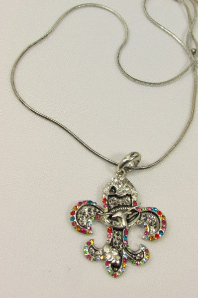 Silver Metal Fleur De Lis Lily Flower Bull Colorfull Rhinestones/ Silver Necklace New Women Fashion - alwaystyle4you - 5