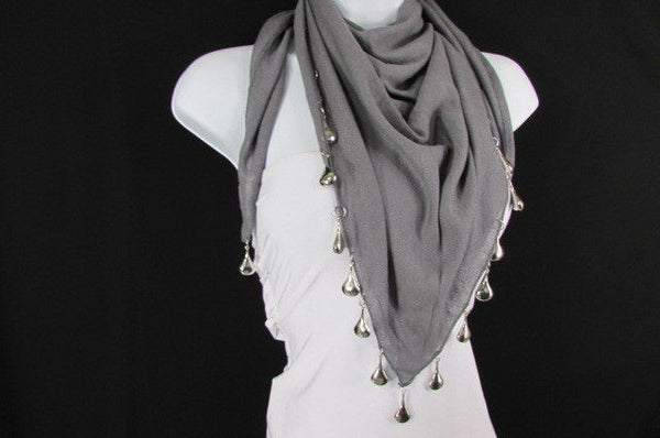 Solid New Women Scarf Fashion Necklace Gray Short Fabric Neck Multi Silver Drops Beads - alwaystyle4you - 5