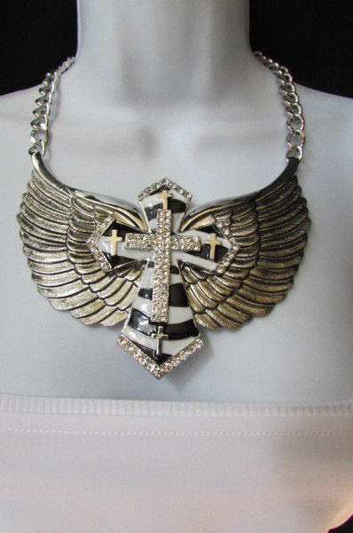 Big Bow Zebra Angel Wings Pendant Black Cross Stripes Rhinestones New Women - alwaystyle4you - 7