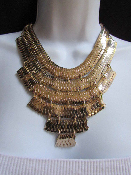 Wide 6 Strands Gold Links Chains Metal Statement Necklace + Matching Earrings Set New Women - alwaystyle4you - 5
