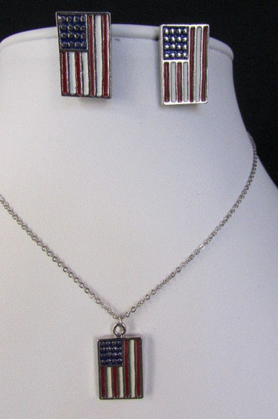 USA American Flag Star/Square/Heart Silver Metal Necklace + Matching Earring Set New Women - alwaystyle4you - 30