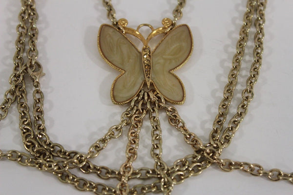 New Women Shoulder Chain Gold Metal Big Butterfly Necklace Body Jewelry Harness - alwaystyle4you - 7