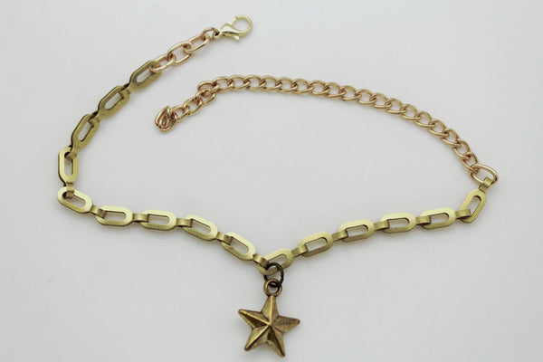 Gold Metal Chain links Mini Star Anklet Shoe Charm New Women Western Boot Bracelet - alwaystyle4you - 7