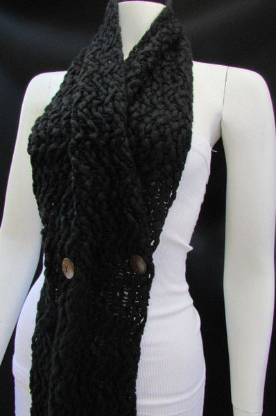 New Women Scarf Fashion Soft Fabric Winter Black / White Wide Shawl 3 Brown Wood Buttons - alwaystyle4you - 6